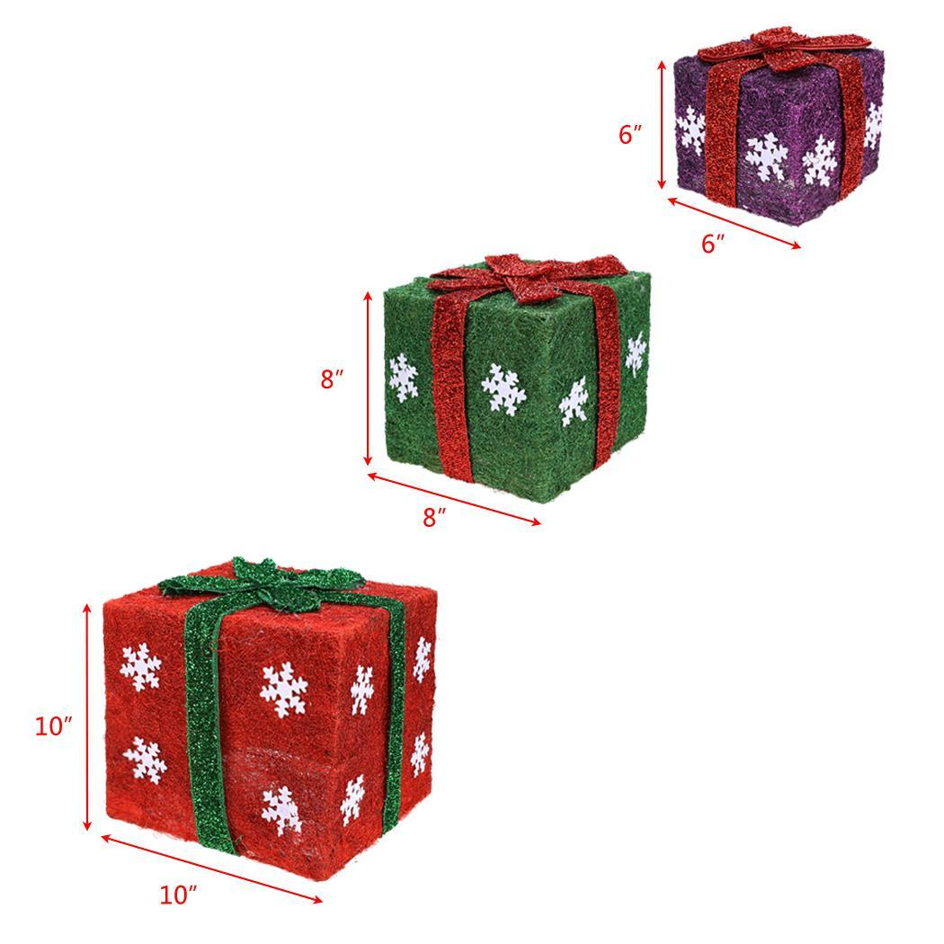 Set Of 3 Christmas Gift Boxes Led Lighted Outdoor Holiday